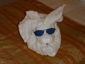 タオルで作ったうさぎ