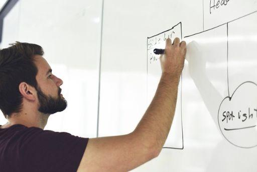 ホワイトボードに図を書く男性